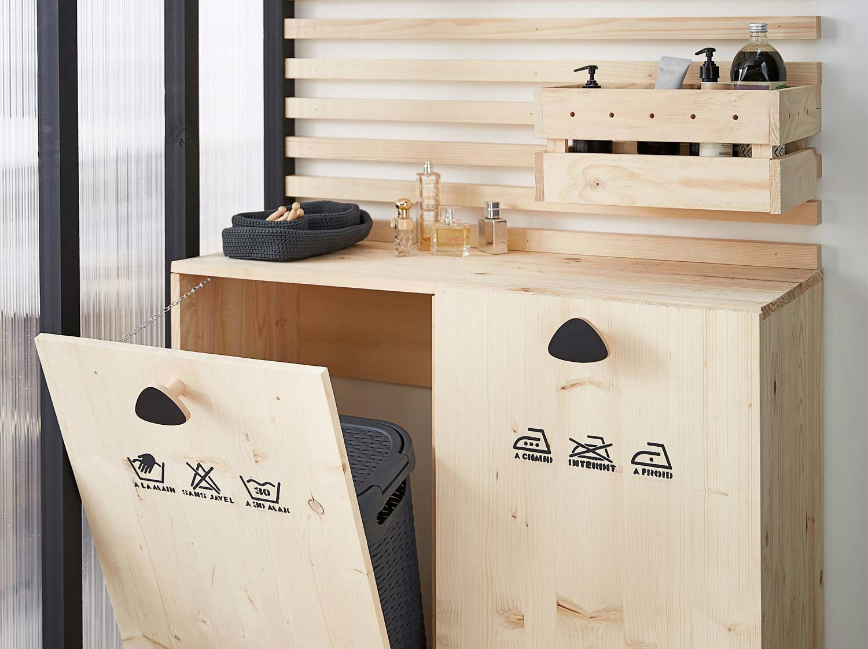 Meuble Avec Panier A Linge diy : créer un meuble buanderie pour la salle de bains