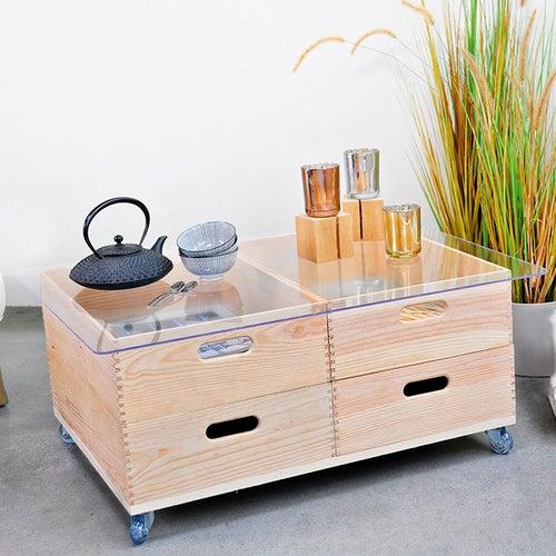 Diy Creer Une Table Basse Roulante En Bois Et Verre Leroy Merlin